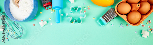 Obraz Banner with Baking or cooking ingredients. Bakery frame. Dessert ingredients and utensils. - fototapety do salonu