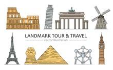 Landmarks, Tour And Travel Ico...