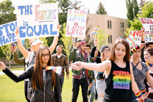 Students With Rainbow Flags An...