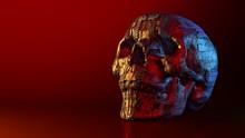 Metallic Skull In Red Surround...