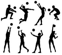 Volleyball Player Black Silhou...