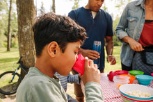 Boy Drinking Water From Plastic Cup At Family Picnic In Park