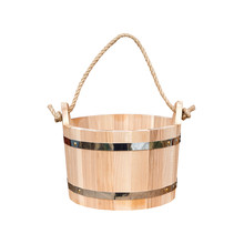 Wooden Bucket With Rope Handle...