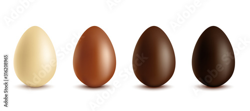 Fotografía Set of white, milk and dark chocolate eggs, realistic vector illustration isolated