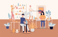 People Characters Work At Ceramic Workshop Background Flat Vector Illustration.