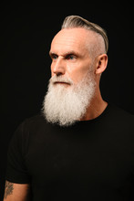 Portrait Thoughtful, Forward Looking Man With White Beard