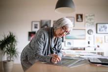 Creative Female Senior Designer Working In Office