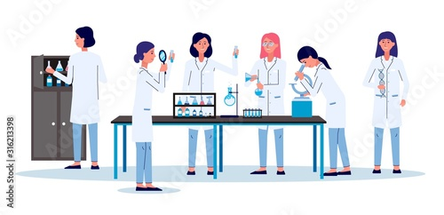 Carta da parati Scientists women or laboratory employees - flat vector illustration isolated