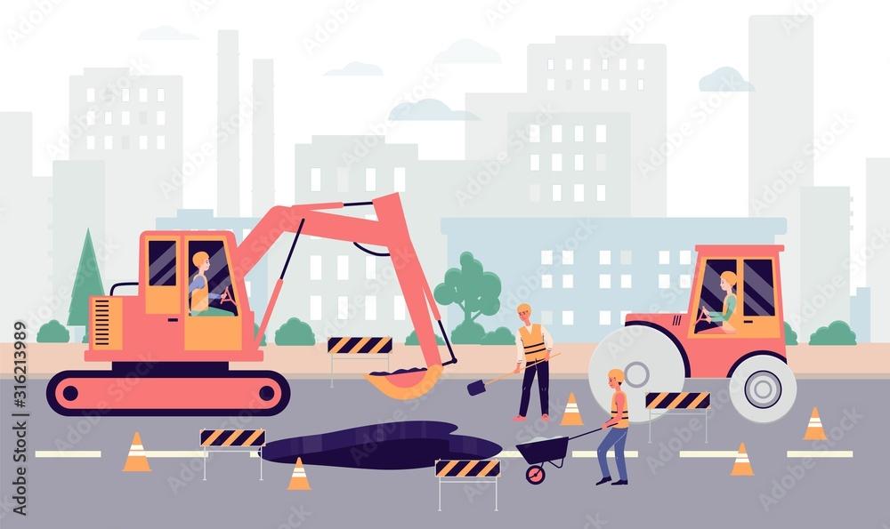 Fototapeta Cartoon people fixing hole on highway - industrial city roadwork banner