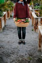 Portrait Woman Holding Basket ...