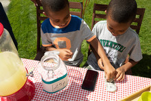 Twin Brothers Counting Money A...