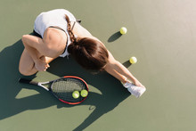 Overhead View Of Female Tennis...