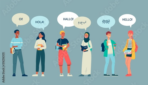 Multicultural students group of characters, flat vector illustration isolated.