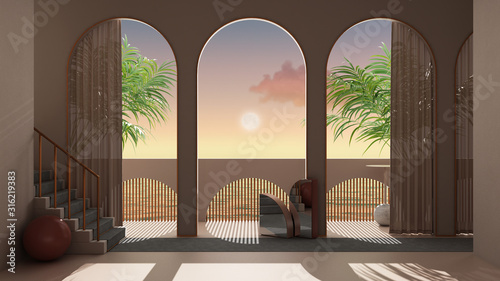 Foto Dreamy terrace, over sea sunset or sunrise with moon and cloudy sky, tropical pa