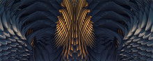 3d Abstract Golden Eagle Wings Background