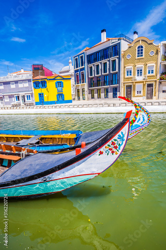 Colorful Buildings And Boats - Aveiro, Portugal Canvas Print
