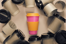 Zero Waste Concept Stylish Reusable Eco Coffee Cup Vs Multiple Single Use Cardboard Cups. Ban Single Use Plastic.