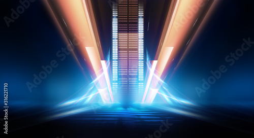 Cuadros en Lienzo Abstract futuristic blue neon background