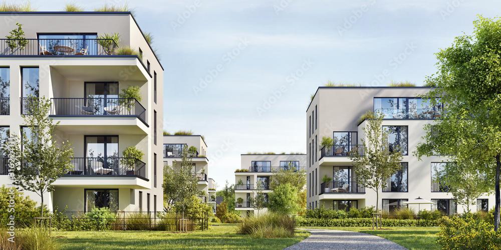 Fototapeta Modern residential buildings. Low-energy houses