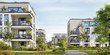 Leinwanddruck Bild - Modern residential buildings. Low-energy houses
