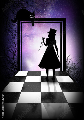 Leinwand Poster Alice and her road to Wonderland silhouette art photo manipulation