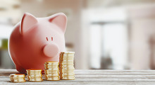 Pink Piggy Bank, Savings Conce...