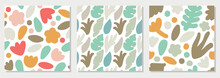 Cute Set Of Trendy Motley Seamless Pattern With Abstract Nature Elements Shape Blots On White Background, Vector Illustration In Simple Flat Style
