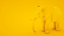 Elephant Isolated On Yellow Background. Minimal Idea Concept, 3d Illustration