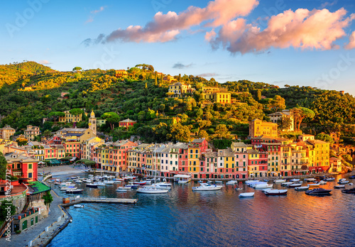 Portofino town on Liguria coast, Genoa, Italy, on sunrise