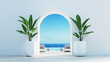 canvas print picture - Gate to the sea view & Beach living - Santorini island style / 3D rendering
