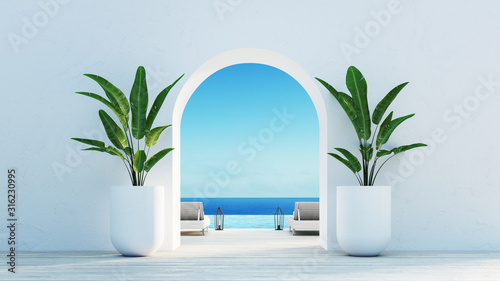 Fotografía Gate to the sea view & Beach living - Santorini island style / 3D rendering