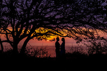 Silhouettes Of Embracing Coupl...