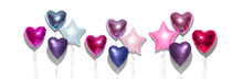 Air Balloons. Bunch Of Purple Heart Shaped Foil Balloons, Isolated On White Background. Love. Holiday Celebration. Valentine's Purple, Red, Pink, Blue. Day Party Decoration. Metallic Balloon Birthday