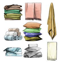 Home Textile Set Towels Pillow...