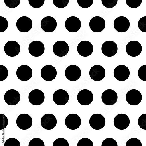 Black big Polka dot fabric. Retro vector pattern Canvas Print