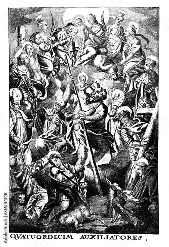 Fototapeta Antique vintage religious allegorical engraving or drawing of man surrounded by saints and patrons