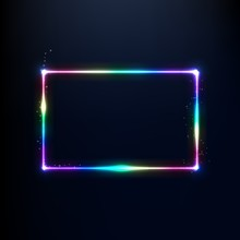 A Neon Rainbow Rectangle Is Edged With Sequins.