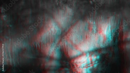 Fototapeta Old dirty dusty window glass with mystical.reflection obraz