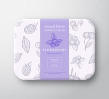 Elderberry Bath Cosmetics Package Box. Abstract Vector Wrapped Paper Container With Label Cover. Packaging Design. Modern Typography And Hand Drawn Berries Background Pattern Layout.