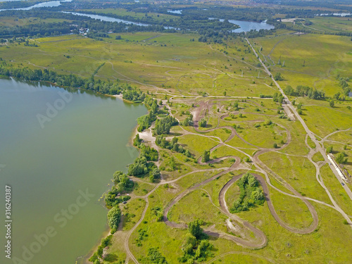Valokuvatapetti Aerial drone view. Tributaries of the Dnieper near Kiev.