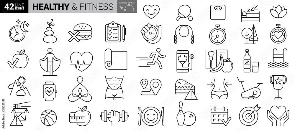Fototapeta Sport and fitness - minimal thin line web icon set. Outline icons collection. Simple vector illustration