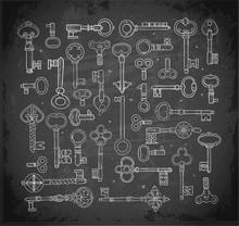 Big Collection Of Doodle Vintage Keys On Blackboard Background.. Doodle Sketch Illustration.