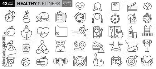 Fototapeta Sport and fitness - minimal thin line web icon set. Outline icons collection. Simple vector illustration obraz