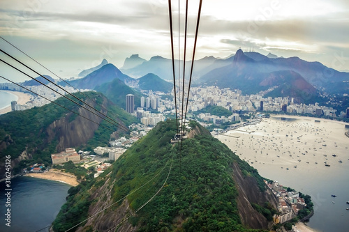 Fotomural Rio De Janeiro Amazing View, Urca Hill, Sugar Loaf Mountain, Evening Clouds, Sunset