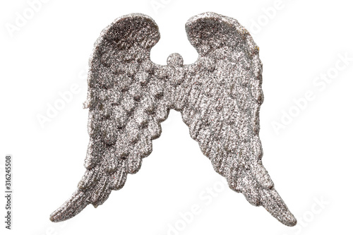 Canvastavla  Glittery Christmas decorations and angelic ornament concept angel wings covered