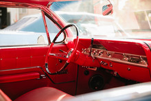 Red Leather Interior Of Vintag...