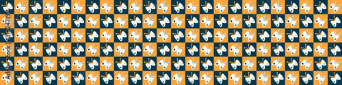 Funky butterfly mosaic vector seamless border pattern Tapéta, Fotótapéta