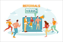 Internet Advertisement, Social Network Promotion And Digital Marketing Concept. Refer A Friend Vector Illustration