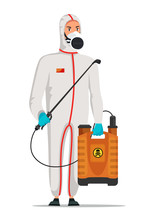 Pest Control Service Worker In Protective Suit