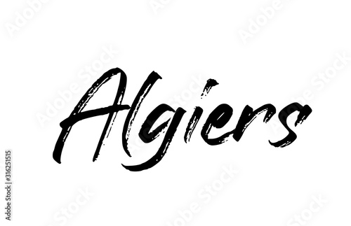 capital Algiers typography word hand written modern calligraphy text lettering Canvas Print